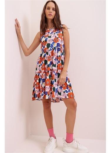 Pink Park Çiçek Desenli Eteği Volanlı Kolsuz Dokuma Viskon Elbise FS00019 Kırmızı